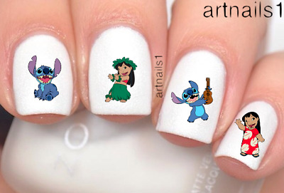 Disney Lilo Stitch Nail Art Water Slide Decals Stickers Manicure Salon Polish