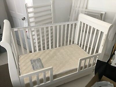 White Sleigh Cot/toddler Bed With Mattress And Drawer