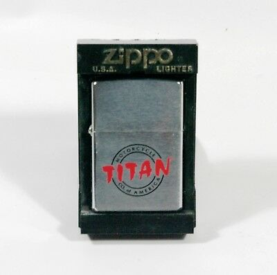 Titan motorcycles ZIPPO lighter unused in box with papers