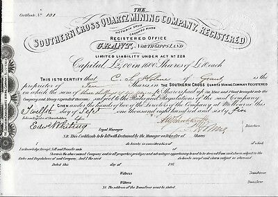 1865   The Southern Cross Quartz Mining Company Shares Certificate