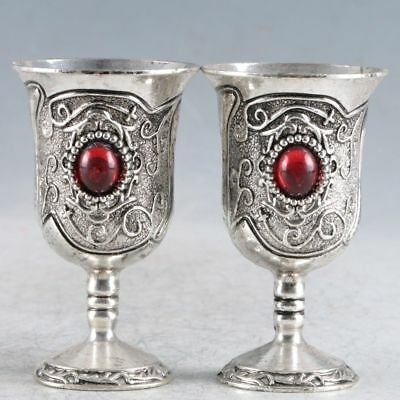 A Pair Of Chinese  Exquisite Silver Handmade  Cup a1026
