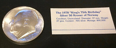"""1978 """"King's 7th Birthday""""  Silver 50 Kroner of Norway Unc Condition"""