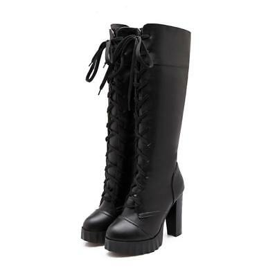 Womens High Chunky Heels Lace up Thick Platform Knee High Boots Punk Vogue Shoes