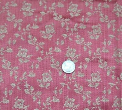 "Antique 1890 French Raspberry Floral Lyon Silk Fabric Sample~27""L X 26""W"