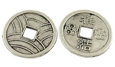 5-20 Chinese Fengshui Antique Silver Auspicious Coins 20mm Dia (LF1540Y)