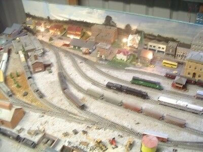 N scale Kato track layout, Station,sidings and buildings, CHECK PHOTOS