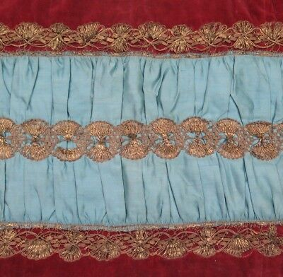 "French Antique 18thC (1770) Handmade Gold Metallic Lace & Silk Fabric~13""LX 20"""