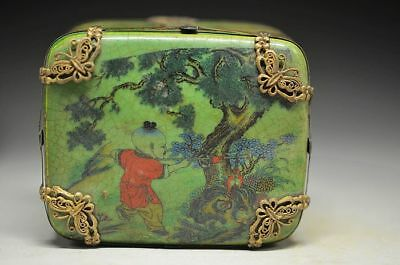 Exquisite Chinese Porcelain Inlaid Tibet Silver Hand-Painted Children Rouge Box