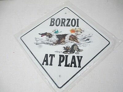 Borzoi at Play Metal Sign, by McCartney New Old Stock Dog Puppy Love