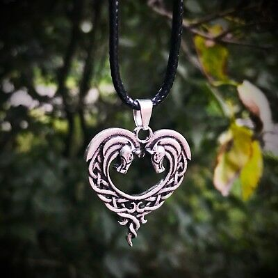 Celtic Horse Pendant Necklace Norse Heart Shaped Antique Silver Celtic Knot Cord