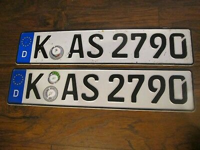 "'pair German License Plate Car Foreign   International Number ""k As 2790''"