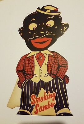 Black Americana Cardboard Smoking Sambo Standup Advertising Store Display Sign