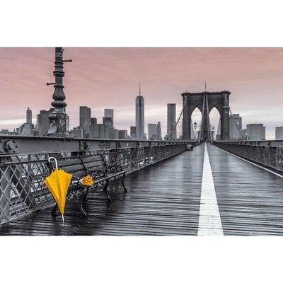 BROOKLYN BRIDGE POSTER - YELLOW UMBRELLA FLOWERS ART - 91 x 61 cm 36 x 24""