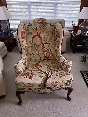 1976 Mary Webb Wood Kashmir Wool Crewel Embroidery Tree of Life Wing Back Chair