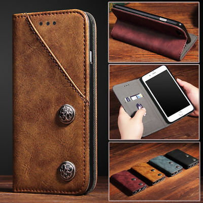 For iPhone 7 Plus X 6S Retro Leather Case Magnetic Flip Card Holder Wallet Cover