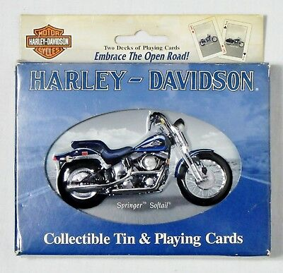 Licensed Harley-Davidson Motorcycles 2001 Collector Tin & 2 Decks Playing Cards