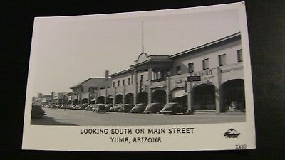 1940's Photo Postcard--ARIZONA--Yuma--Looking South on Main Street-Grocery Signs