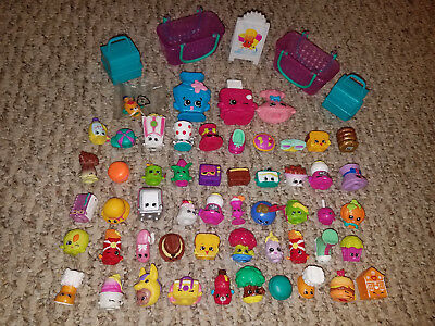 BIG LOT OF 54 SHOPKINS TOYS by MOOSE MIXED SEASONS SHOES FOOD FIGURES BASKETS