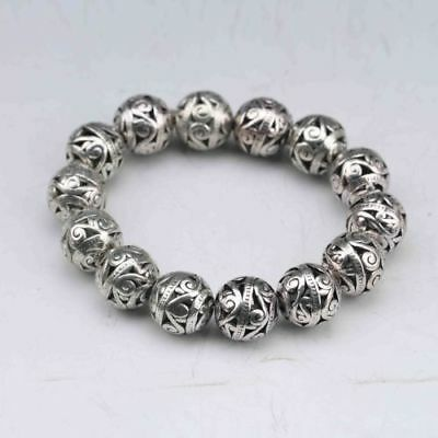 China Collectable Tibet Silver Hand Carved Hollow small ball Bracelet