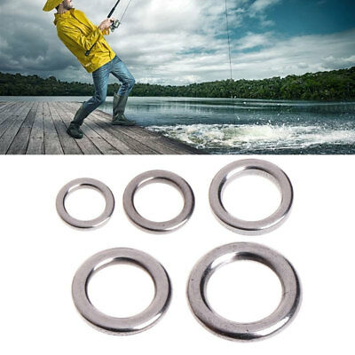 50Pcs Fishing Solid Stainless Steel Snap Split Ring Lure Tackle Connector Fashio