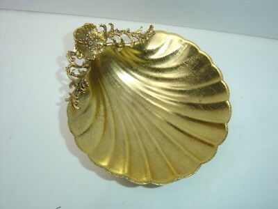 Vintage Matson Footed Gold  Metal Plated Soap Dish Made in USA