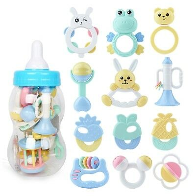 8/13Pcs Sets Baby Newborn Infant Teether Rattle Play Toys Large Milk Bottle Gift