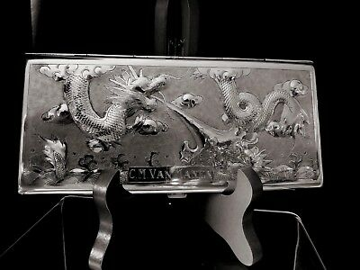 Chinese export  steriling silver Dragon Money Case