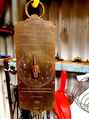 Antique c1900 SALTER'S Huge BRASS SCALES No.60 balance to weigh 30lb by 1oz VGC