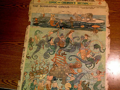 Very Rare 1900-Original-Comic Section Front Page-Incredible Underwater Panorama