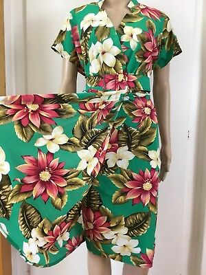 VINTAGE 80's Stitches TURQUOISE Tiki SARONG DRESS 14 With Belt TROPICAL FLORAL