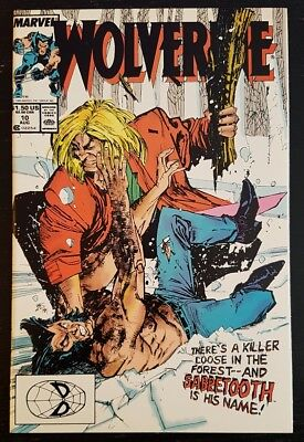 Wolverine #10 (1989 Marvel) *1St Wolverine & Sabretooth Battle* Nm