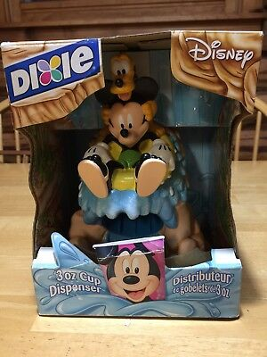 New Disney Mickey Mouse and Pluto Dixie Cup Dispenser Mouthwash Bathroom