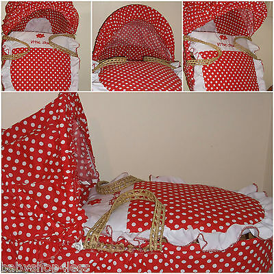 Moses Basket Dressing Covers Red White Polka New Free P&p