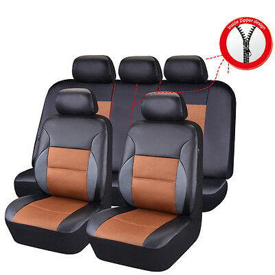 CAR PASS Breathable PU leather Sandwich Universal Car Seat Cover fit 40/60 50/50