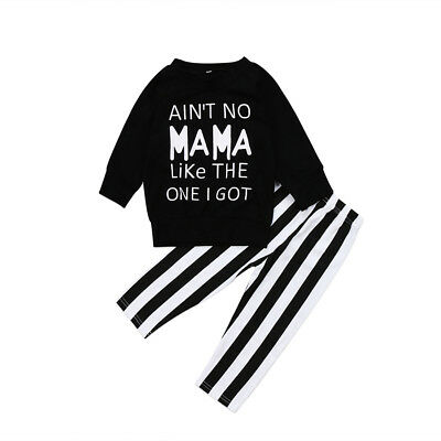 Kids Baby Girls Toddler Tops T-shirt Striped Pants Leggings Outfits Clothes US