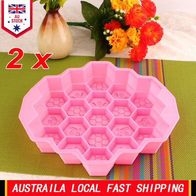 2X 19 Cavity Silicone Bee Honeycomb Cake Chocolate Soap Candle Bakeware Mould AU