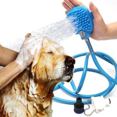 Aquapaw OneHanded Pet Bathing Scrubber Hose Spray Scrub Shower Bath Dog Cat Tool