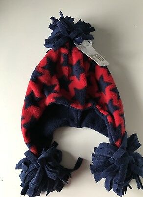 Mothercare Baby Boys Navy & Red Star Print Bobble Hat Size 6-12 Months