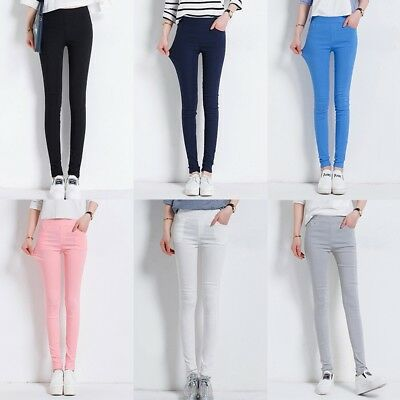 Jeans Stretchy Leggings Slim Skinny Pencil Pants Trousers Jeggings New Women AU