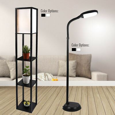 Led Floor Lamp Shelf Adjustable Wood Standing Light Reading Bedroom Office Home