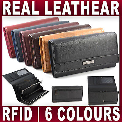 LARGE REAL LEATHER PURSE credit cards coin holder wallet RFID Womens Ladies NEW