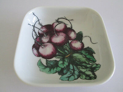 Vintage Piero Fornasetti Small Square China Bowl Vegetable Pattern Beetroot 98/0