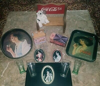 LOT VINTAGE (1980s) COCA COLA COLLECTIBLES (PLUSH BEAR, GLASSES, TINS TRAYS)