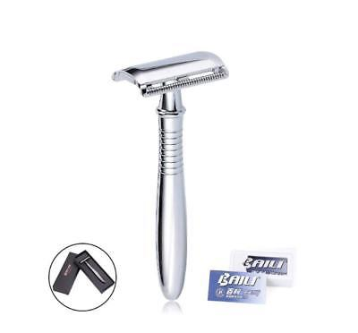 Double Edge Safety Chrome Handle Shaving Razor Classic Manual + 5 Safety Blades