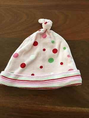 Girls Pink With Spots Beanie - Size 3-6 Months