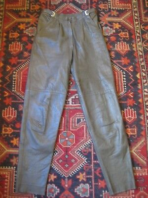 PALAZZI Vintage Olive High waisted Leather Pants. Retro Size 10.