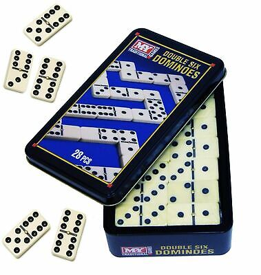 28 pcs Double Six 6 Dominoes Set Tin Box Traditional Board Travel Game Toy