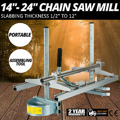 """Portable Chain saw Mill log Planking lumber cutting 14"""" - 24"""" chainsaw Guide Bar"""