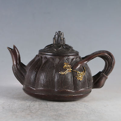 Chinese Gilt Copper Plum Blossom Teapot Made By Royal Qianlong
