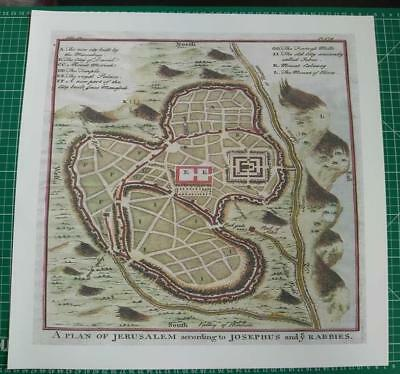 Reproduction Canvas 1730  Map of Jerusalem by Josephus and y Rabbies